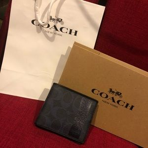 NWOT Coach Men's Heritage Coin Striped  Wallet